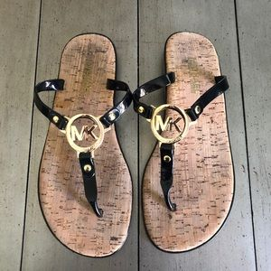 Michael Kors Black Jelly Cork Bottom Flip Flops
